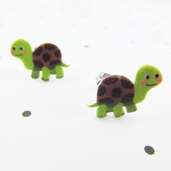 Green turtle, earring, cute turtle, brown and green, earring, print on plastic, stainless stud, handmade, les perles rares