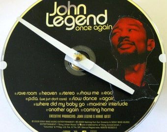CD clock. John Legend clock. Recycled CD.  John Legend. Small wall clock. Music clock.
