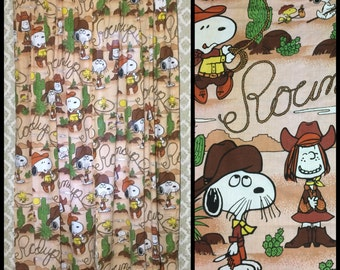 1970's Peanuts Snoopy Woodstock Peppermint Patty character Cowboy desert cactus 82 inch long pair curtains brown door length bedroom #1