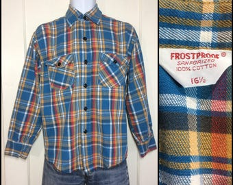 Vintage 1960's Frostproof Plaid Heavy thick Flannel Shirt size 16.5 Large Sanforized All Cotton Turquoise blue gold yellow red