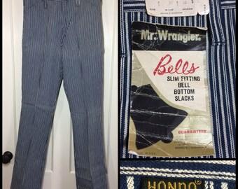Deadstock 1960s Vintage Mr. Wrangler Hondo  31x32 Hickory Striped blue white Bell Bottom flare boyfriend Jeans NOS nwt #303