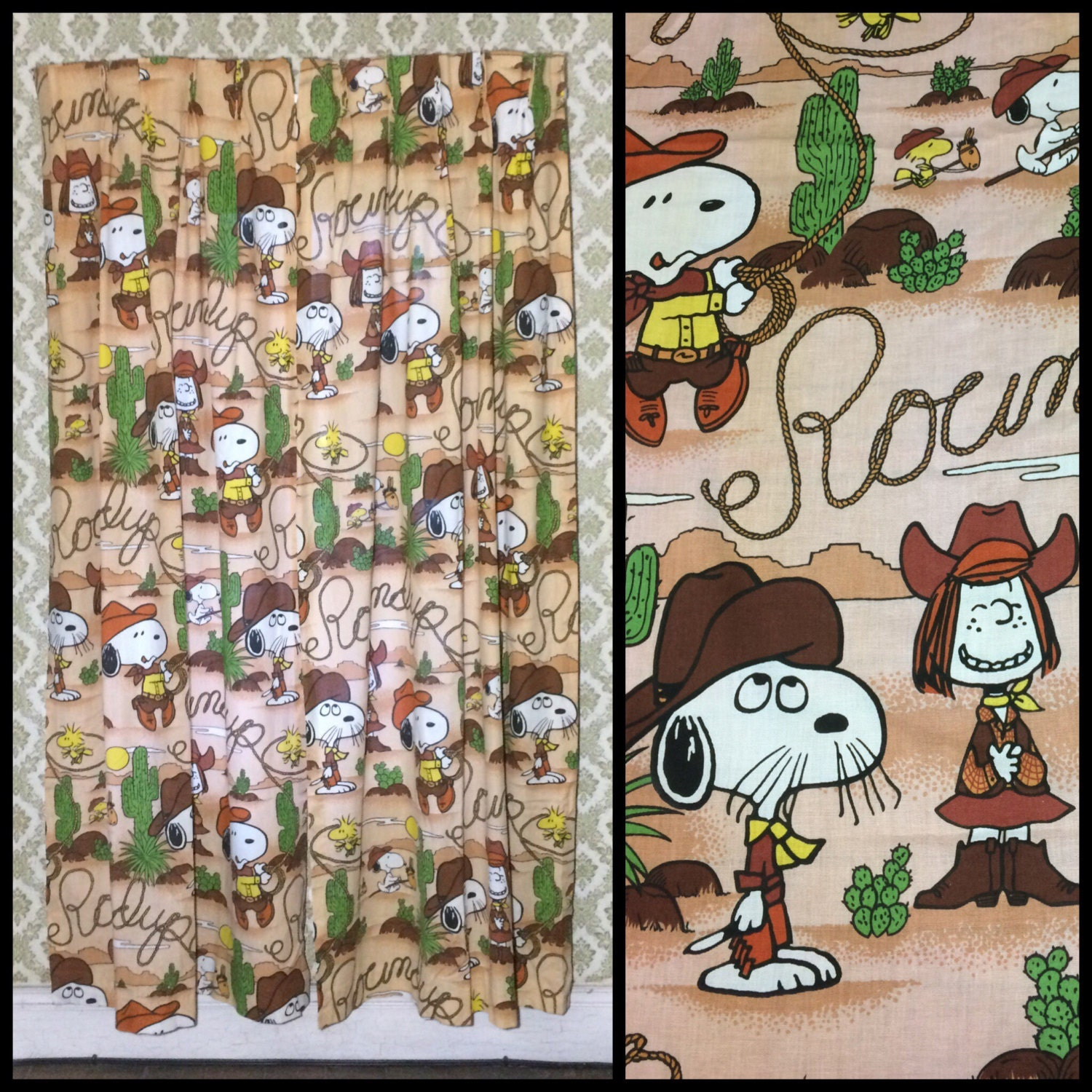 1970u0027s Peanuts Snoopy Woodstock Peppermint Patty Character Cowboy Desert  Cactus 82 Inch Long Pair Curtains Brown Door Length Bedroom #1