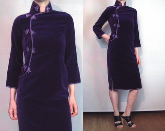 60s Purple VELVET Cheong-sam Dress