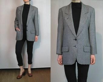 JAEGER London Houndstooth Tweed Wool Blazer