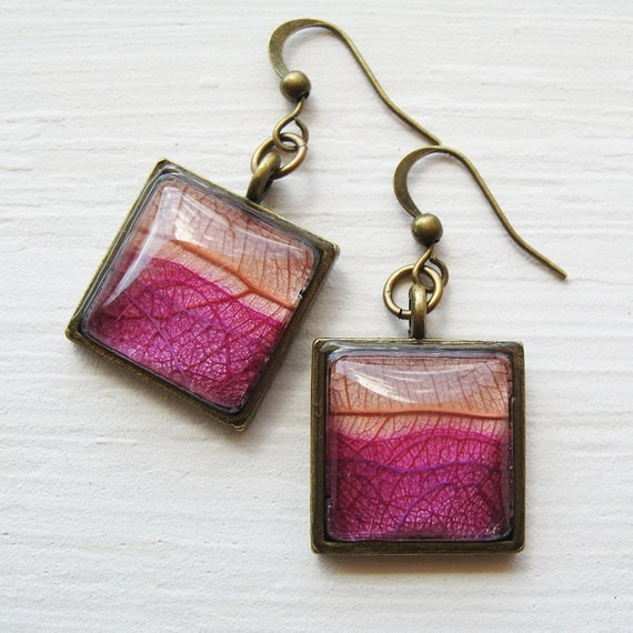 Real Leaf Earrings - Sunset - Layered Leaf Pink and Brass Square Earrings