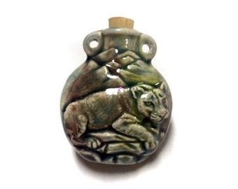 Cougar Raku Ceramic Bottle Bead - RAKBOT 96