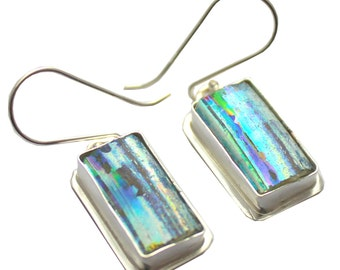 925 Silver One of a Kind Hand Made  Colorful Rare Roman Glass From The Holy Land  Earrings