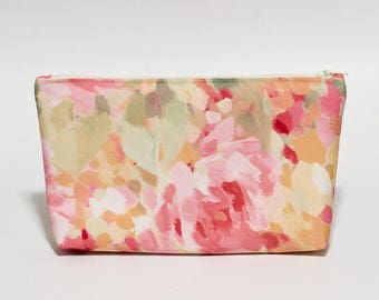 Abstract Pastels Makeup Bag Waterproof Lined Clutch Purse
