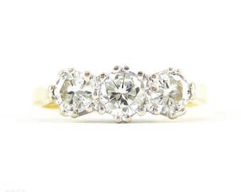 Classic Three Stone Diamond Engagement Ring, 0.50 ctw Round Brilliant Cut Diamond Trilogy Ring in 18ct White & Yellow Gold.