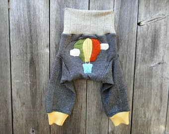 MEDIUM Upcycled Merino Wool Longies Soaker Cover Diaper Cover With Added Doubler Gray/Oatmeal Stripes With Hot Air Ballon Applique  6-12M