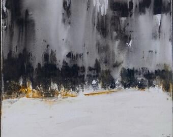 Minimalist White Gray Landscape Abstract, 18 x 24 Original Modern Canvas Wall Art