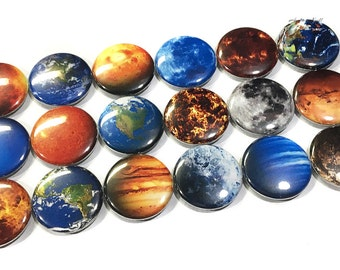 "Planet Magnet, 1"" Button Magnet, Space, Earth, Planet, Space Magnet, Galaxy Magnet, Space Decor, Planet Theme, Planet Party Favor, Earth"