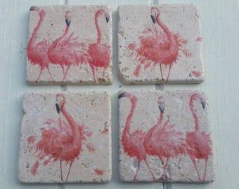 Flamingo Coaster Set of 4 Tea Coffee Beer Coasters