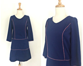 Vintage 1960s Dress - mod mini dress - blue shift dress - S M