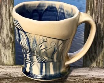 Handmade Fish Mug, Wood Fired Porcelain Bass Mug, Wheel Thrown, Carved Fishing Mug, Fish Pottery with Blue Glaze Inside.