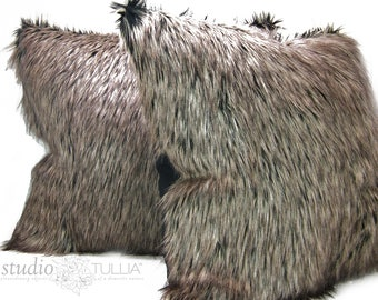 Fur Pillow Covers - Set of TWO - 24 inch - brown fur  - euro sham - animal fur - fur pillow - ready to ship
