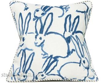 Bunny Fabric - Hutch Print Navy - Hunt Slonem - Lee Jofa - Groundworks - Lumbar - 20X20 - decorative pillow cover -  ready to ship