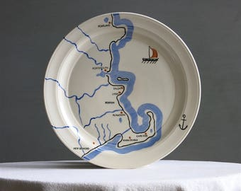 Vintage Vernon Kilns Coastline Dinner Plate - Nautical Dinnerware 10 1/2 Inches Maine and Cape Cod Beach Map 1930s Pottery
