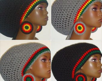 Rasta and Pan-African Trim Crochet Large Tam with Drawstring and Earrings by Razonda Lee RazondaLee Made to Order