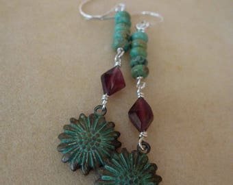 Natural Turquoise, Natural Garnet and Antiqued Flower Disk Sterling Silver Dangle Earrings