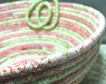 Pink and Green Scrappy Cotton Pottery Fabric Coiled Bowl