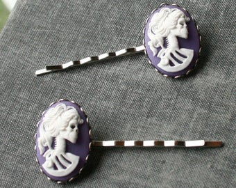 Skull Cameo Bobby Pins Skeleton Cameo Hairpins Girly Skull Zombie Girl Purple Skull Cameo