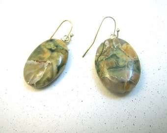 Green Agate Oval Earrings or Reuse as Pendants - variegated stone