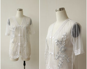 Sheer White Top, Bridal Jacket, Beaded Embroidered Evening Jacket, Art Deco Beaded Ornamented Mesh Top