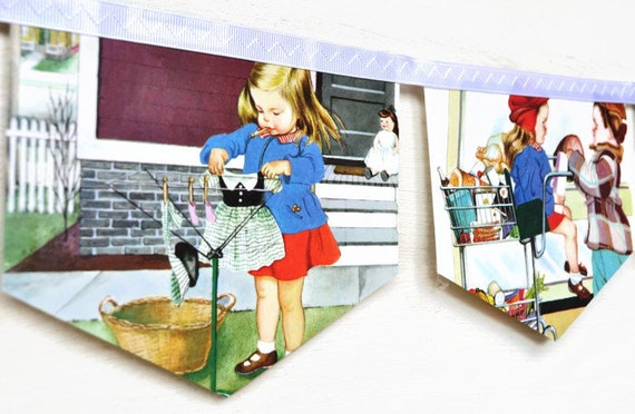 WE HELP MOMMY Banner Mummy Vintage Little Golden Book Bunting story book Paper Children Decoration Eco Friendly repurposed storybook party