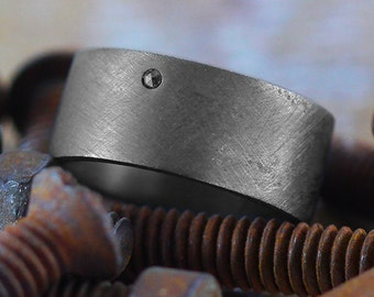 Mens Wedding Band Black Diamond Oxidized Sterling Silver Personalized Man Ring