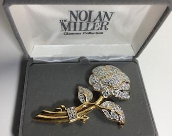 Vintage Nolan Miller Pavé Rose Crystal Clear Rhinestone Brooch