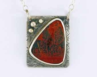 Handcrafted Sterling Silver Red Creek Jasper Pendant Red & Green Abstract Design Natural Stone Contemporary Artisan Jewelry 19906303111116