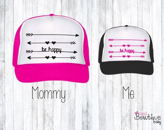 CUSTOM ORDER Mommy and Me Be Happy trucker hats