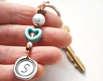 Boho Jewelry Gift Turquoise Ceramic Heart Personalized Keychain Initial Monogram Wax Seal White Pearl Quartz Boyfriend Gift for Girlfriend