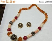 Snowflake Savings 30% Avon Moroccan Necklace and Pierced earrings Mint Condition 1990 Warm Amber
