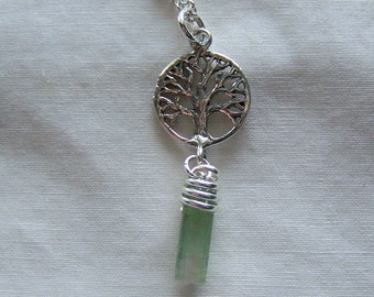 Watermelon Tourmaline Crystal Tree of Life Pendant