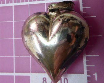 Vintage Sterling Silver Puffy Heart Pendant Marked 925