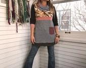 Eco Tunic Shirt, size S/M eco clothing,urban tunic,patchwork tunic, color block tunic,cowl shirt, earthy tunic,  tie dye tunic, Zasra