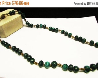 On Sale Vintage Estate Silver 28 inch Graduated Larger Malachite Bead With Bead Accents Necklace