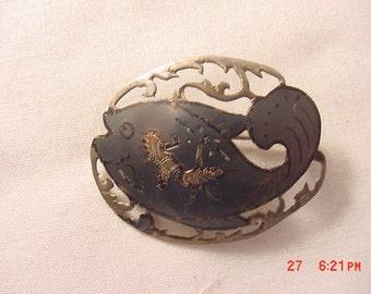 Vintage Sterling Silver Niello Siam Fish Pendant   16 - 886