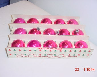 15 Vintage Pink Shiny Brite Mercury Glass Christmas Tree Ornaments In Original Boxes  17 - 694
