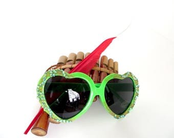 Lime Green Disney Tinkerbell Inspired Heart Shaped Sunglasses With Matching Rhinestones and Gold Glitter
