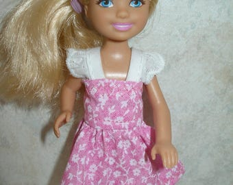 """Handmade 5.5"""" little sister fashion doll clothes -pink and white floral dress w/ eyelet straps"""