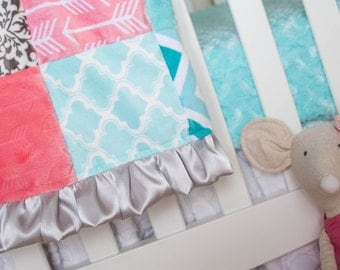 Arrow Minky Blanket - Coral Gray Aqua Nursery - Baby Girl Blanket - Arrow Bedding  - Coral Mint Bedding -  Girl Ships in 1-3 Business Days