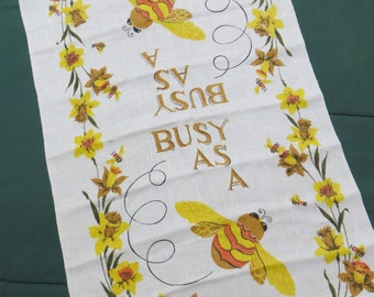 Vintage Kitchen Tea Towel-Busy as a Bee-Mid Century-Eames-Whimsical-Unused