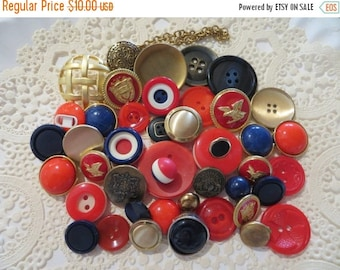 Store Closing SALE Vintage Red White and Blue Buttons-Lot-Craft-Sewing-Patriotic-Crest-Military