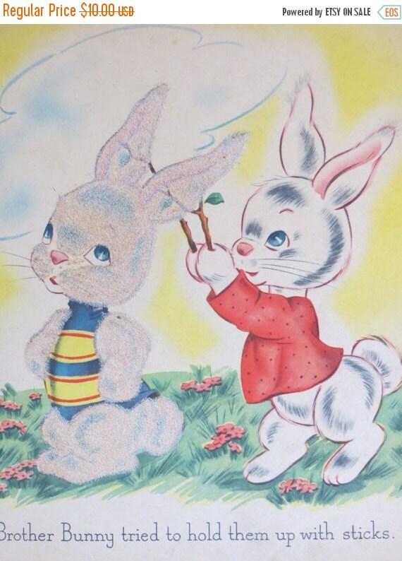 ON SALE Vintage Childrens Book Plate-Page-Nursery-Framed Art-Bunny-Easter