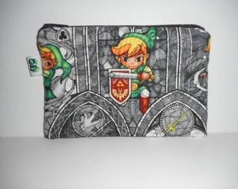 Padded Zip Pouch purse Gadget Coin Case - Legend of Zelda Lync print