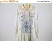 SALE Vintage 1920s Dress / 20s Dress / Embroidered Dress Blue White Batiste Floral Dress Handkerchief Hem Flapper Dress Peasant Folk Gatsby