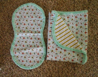 Hem Stitch Baby Boy - Blue and Green Airplaine Flannel Receiving Blanket and Burp Cloth
